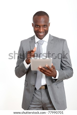 Businessman on white background using electronic tablet
