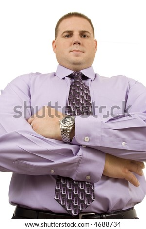 Businessman on white looking into camera