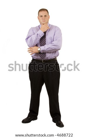 Businessman on white with hand under chin looking thoughtful