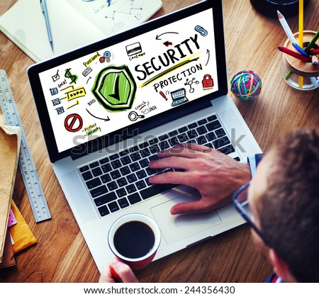 Businessman Online Internet  Security Protection Firewall Concept - stock photo