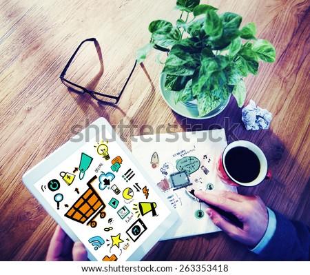 Businessman Online Marketing Digital Devices Working Concept - stock photo