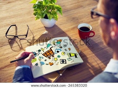 Businessman Online Marketing Planning Working Concept - stock photo