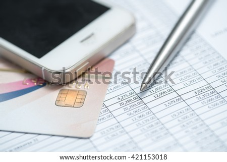 Businessman opening a bank account and check your credit card information. - stock photo