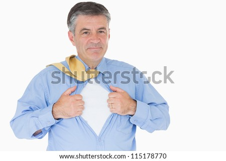 Businessman opening shirt like a superhero on white background - stock photo