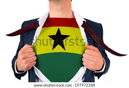 Businessman opening shirt to reveal ghana flag on white background - stock photo