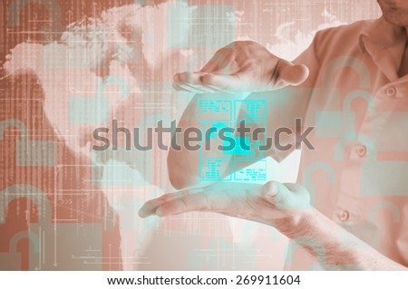 businessman opens access to the document on the virtual display.