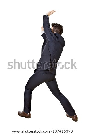 businessman oppressed isoleted on a white background - stock photo
