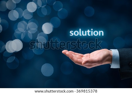 Businessman or consultant give you a business solution. Bokeh in background. - stock photo