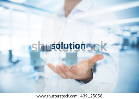 Businessman or consultant give you a business solution. Double exposed composition with office in background. - stock photo