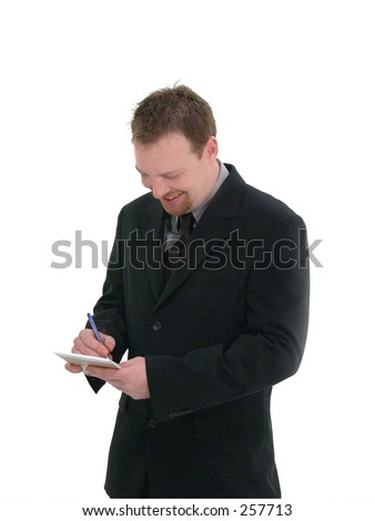 businessman or waiter in a black suit taking notes