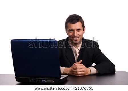 businessman over white studio background