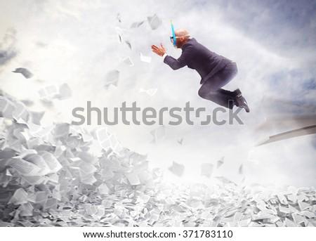 Businessman overworked - stock photo