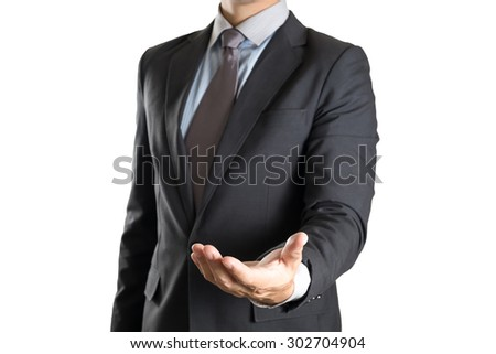 Businessman Palm his hand on white background