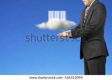 Businessman palm opening with clouds and computing server in blue sky background - stock photo