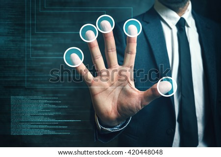 Businessman passing biometric verification with fingerprint scanner, modern futuristic technology in service of security and protection. - stock photo