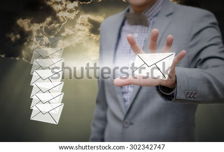 Businessman pick up email, Communication concept