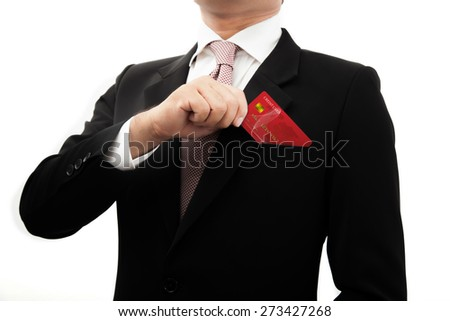 Businessman picked the card out of his pocket. - stock photo