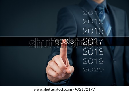 Businessman plan goals for 2017. Business new year goals and targets concept.