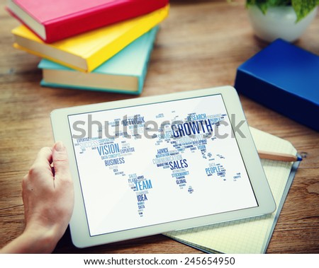Businessman Planning Global Business Tablet Success Growth Concept - stock photo