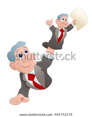 businessman playing a puppet on isolated  white background - stock photo