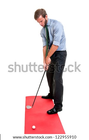 Businessman playing golf club isolated - stock photo