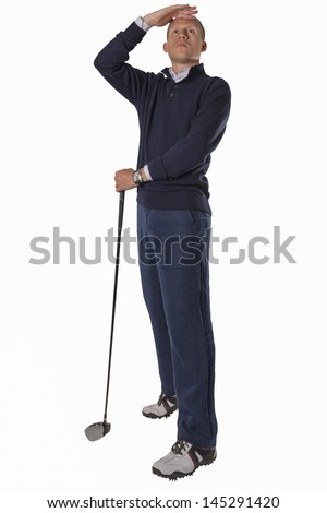 Businessman playing golf isolated on white background