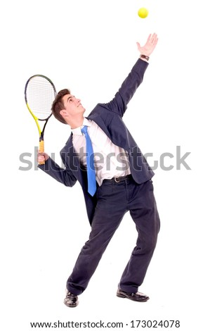 businessman playing tennis isolated in white - stock photo