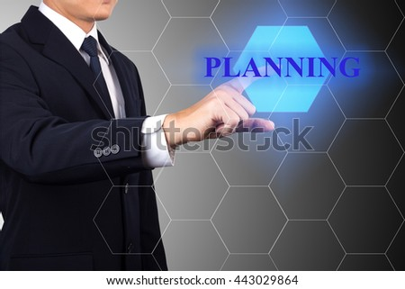Businessman point on business planning.