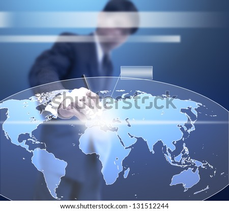 businessman point on virtual global map. - stock photo