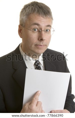 Businessman pointing at blank document - stock photo