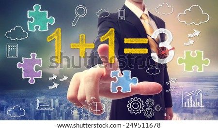 Businessman pointing at synergy concept 1+1=3 with cartoon - stock photo