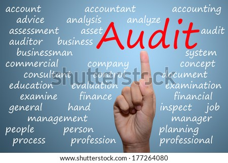 businessman pointing audit concept