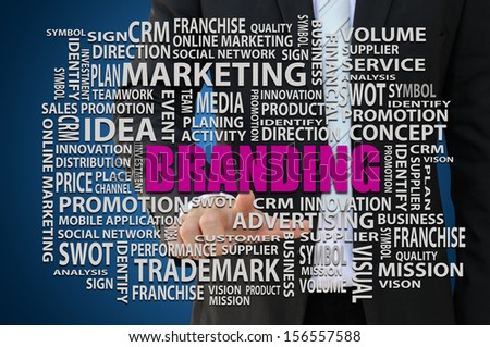 Businessman pointing branding word of marketing concept - stock photo