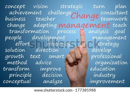 businessman pointing change management concept   - stock photo