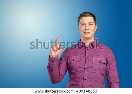 Businessman pointing copy space