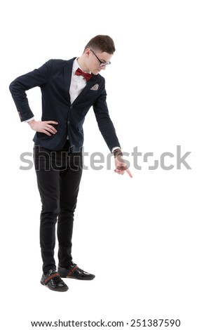 businessman pointing down with the finger - stock photo