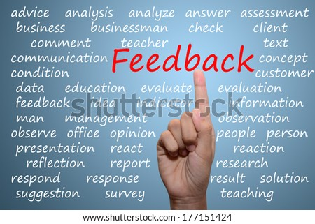 businessman pointing feedback concept