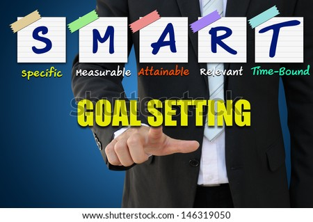 Businessman pointing goal setting for smart concept - stock photo