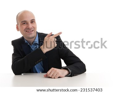 businessman pointing his finger to copy space. Isolated
