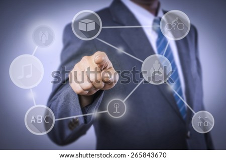 Businessman pointing info of intelligence