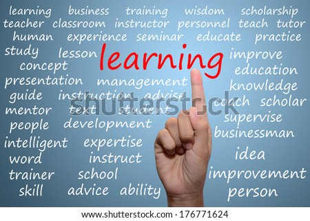 businessman pointing learning concept