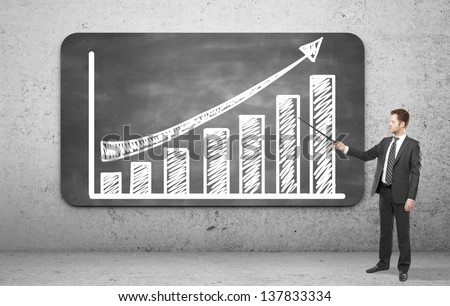 businessman pointing on a graph on blackboard