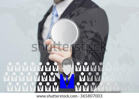 Businessman pointing on button- HR, HRM, HRD concept