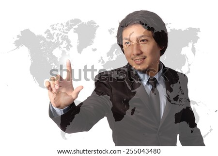 Businessman pointing on world map screen, Double Exposure - stock photo