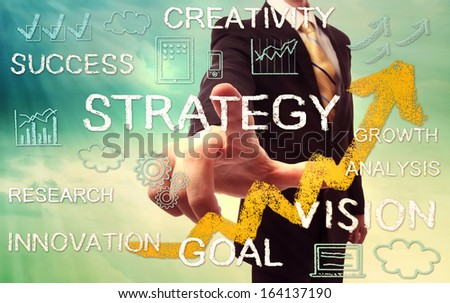 Businessman pointing STRATEGY with yellow arrow and business concept texts - stock photo