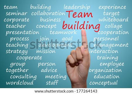 businessman pointing team building concept