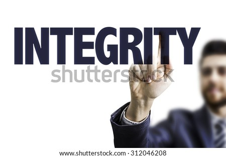 Businessman pointing the text: Integrity