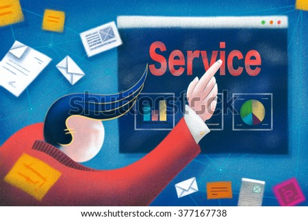Businessman pointing to a Service business presentation. - stock photo