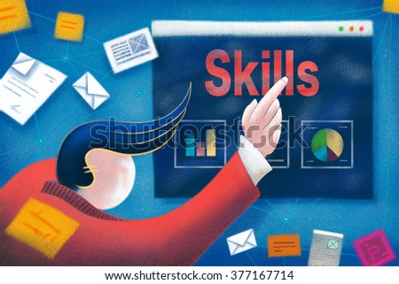 Businessman pointing to a Skills business presentation. - stock photo