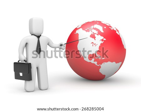 Businessman pointing to globe - stock photo